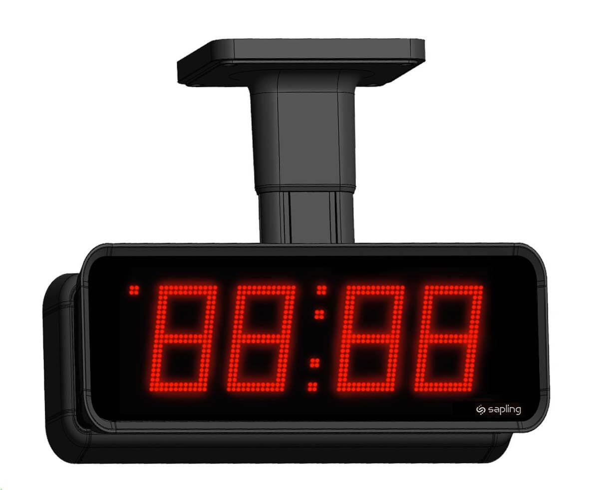 Sapling Large Digital Clock 4 Digits with a Red Display Double Mount